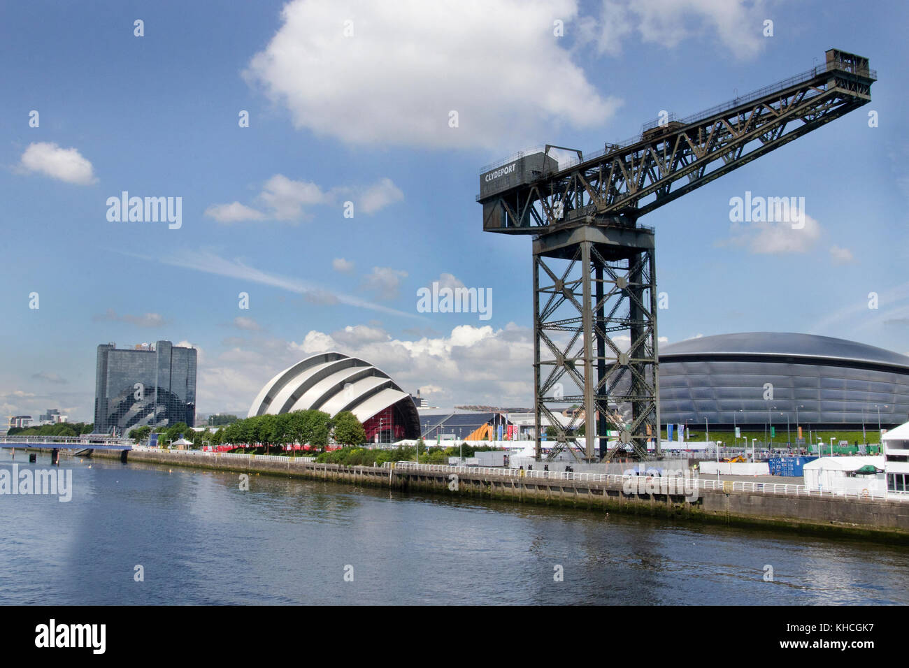 GLASGOW, SCOTLAND- JULY 28 2014: A side view of the Finnieston crane, SEC Armadillo and the Crowne Plaza Glasgow - Stock Image