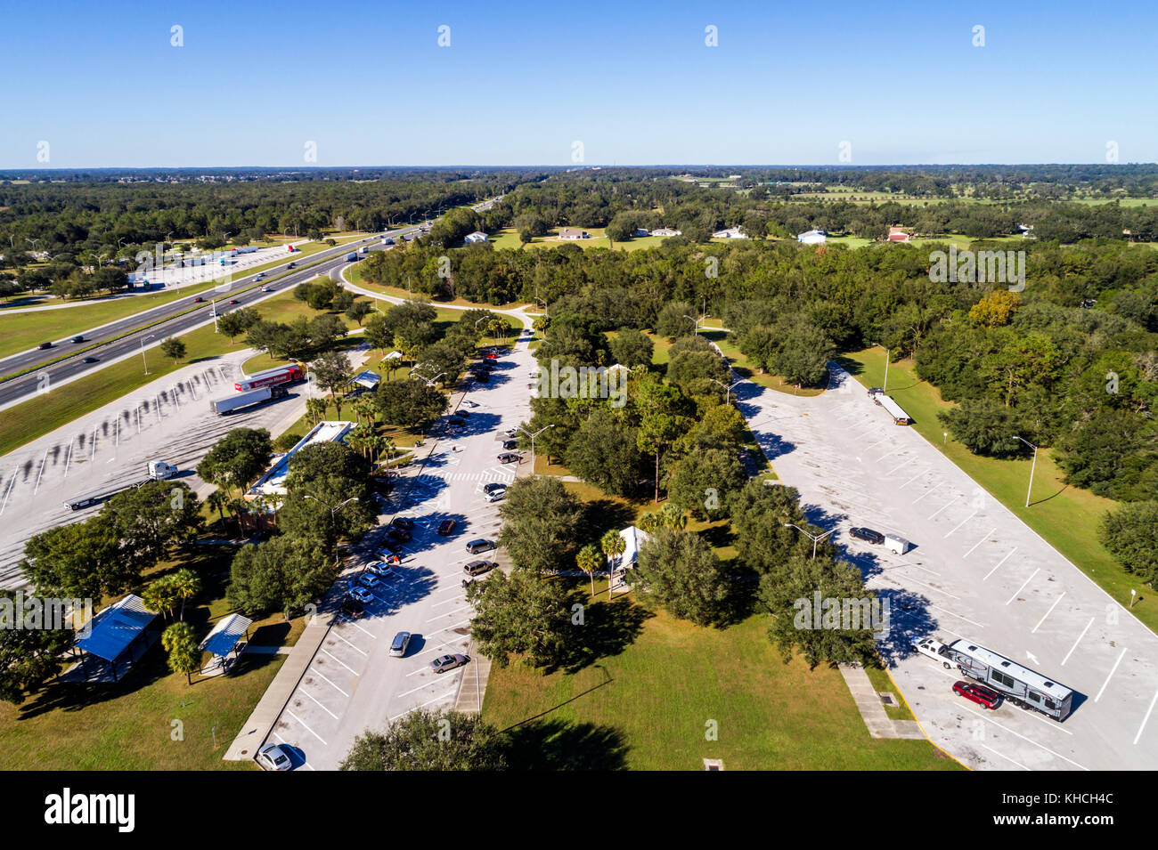 Florida Ocala Interstate I75 I-75 highway rest stop aerial overhead bird's eye view above - Stock Image