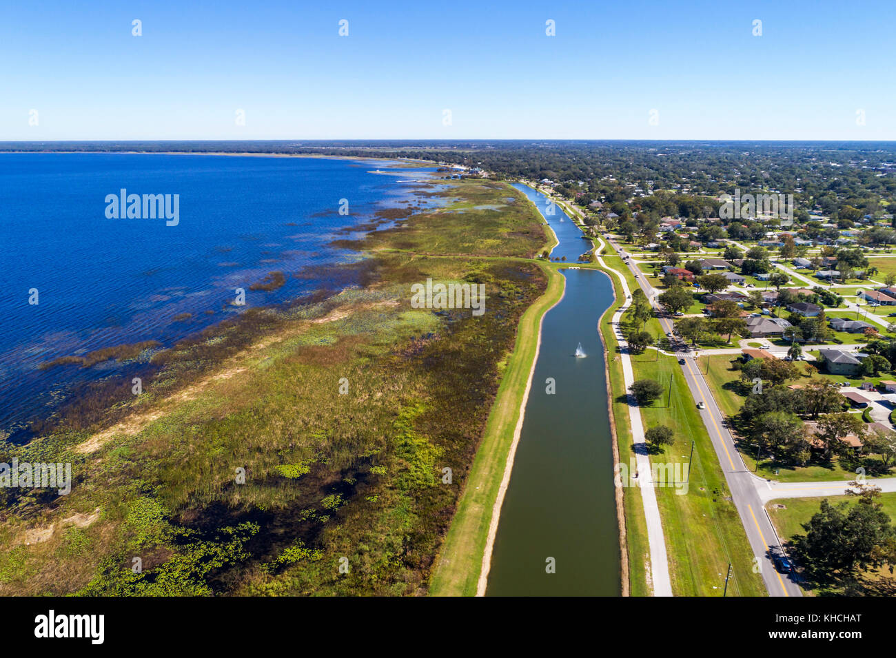 Florida Saint St. Cloud East Lake Tohopekaliga Lakefront Park East Lakeshore Boulevard water aerial overhead bird's - Stock Image