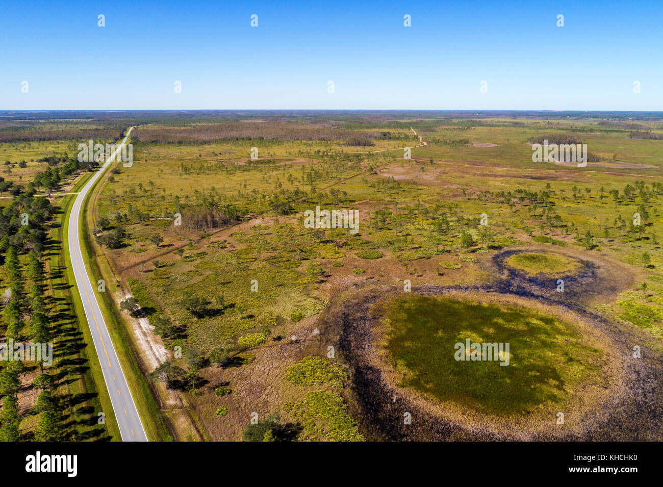 Florida Kenansville Lake Marian Highlands Three Lakes Wildlife Management Area State Road 523 highway aerial overhead - Stock Image