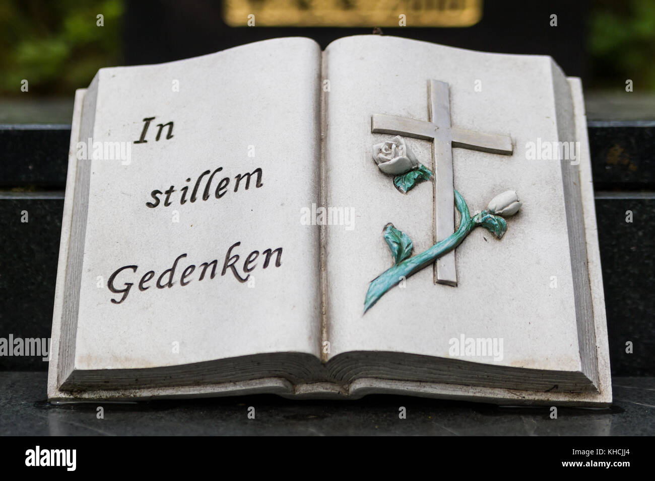 In stillem Gedenken steinernes Buch - Stock Image