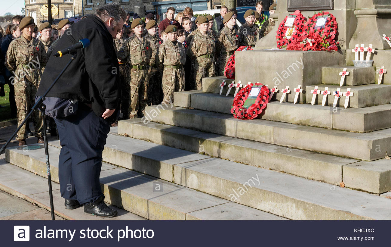 Reportage,archival,Memorial service Derbyshire county councillor George Wharmby pays respect to the fallen after - Stock Image