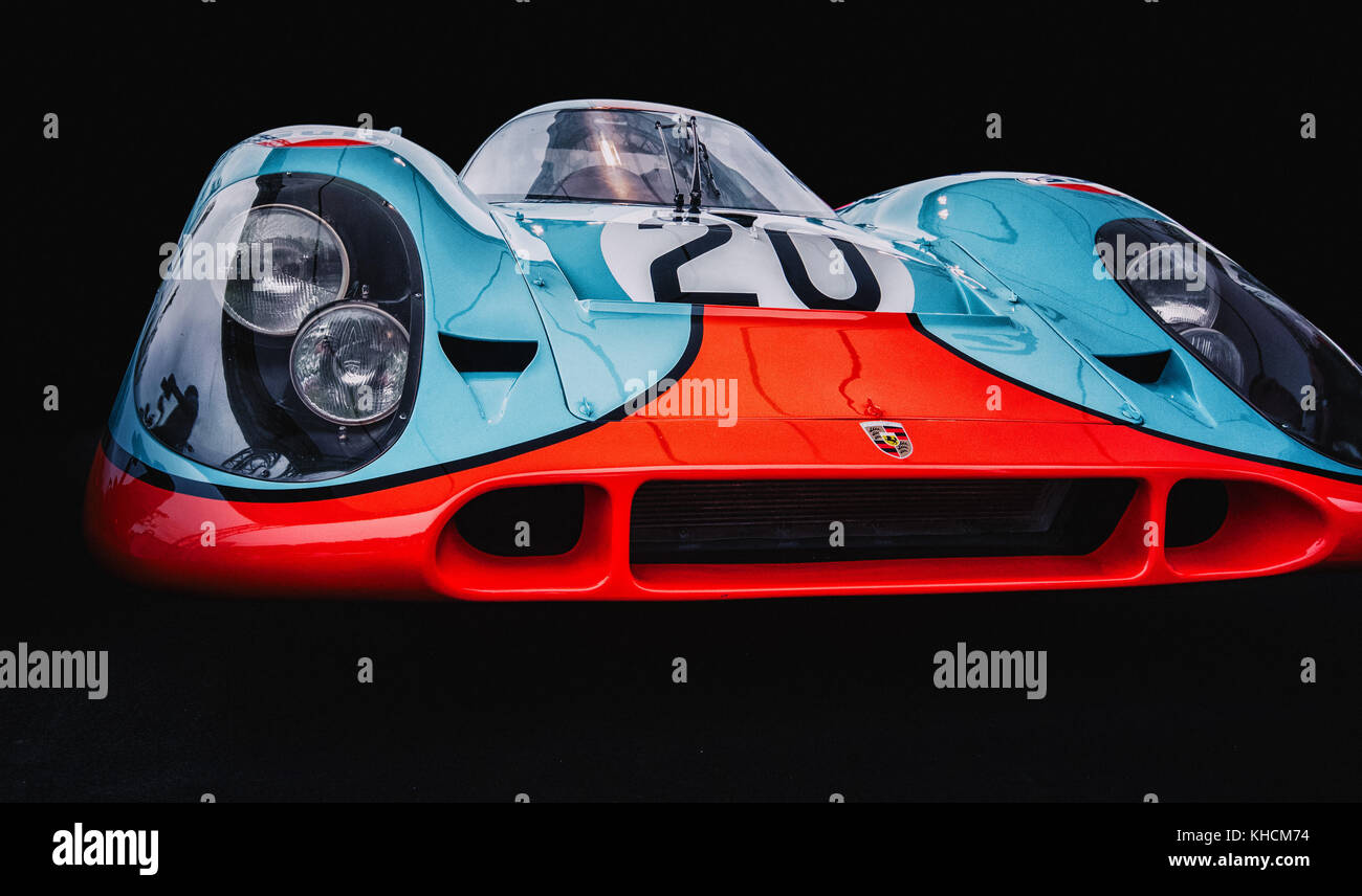 August 19 2017, Wroclaw, Poland - Vintage Porsche 917  Gulf on motoshow classic - Stock Image