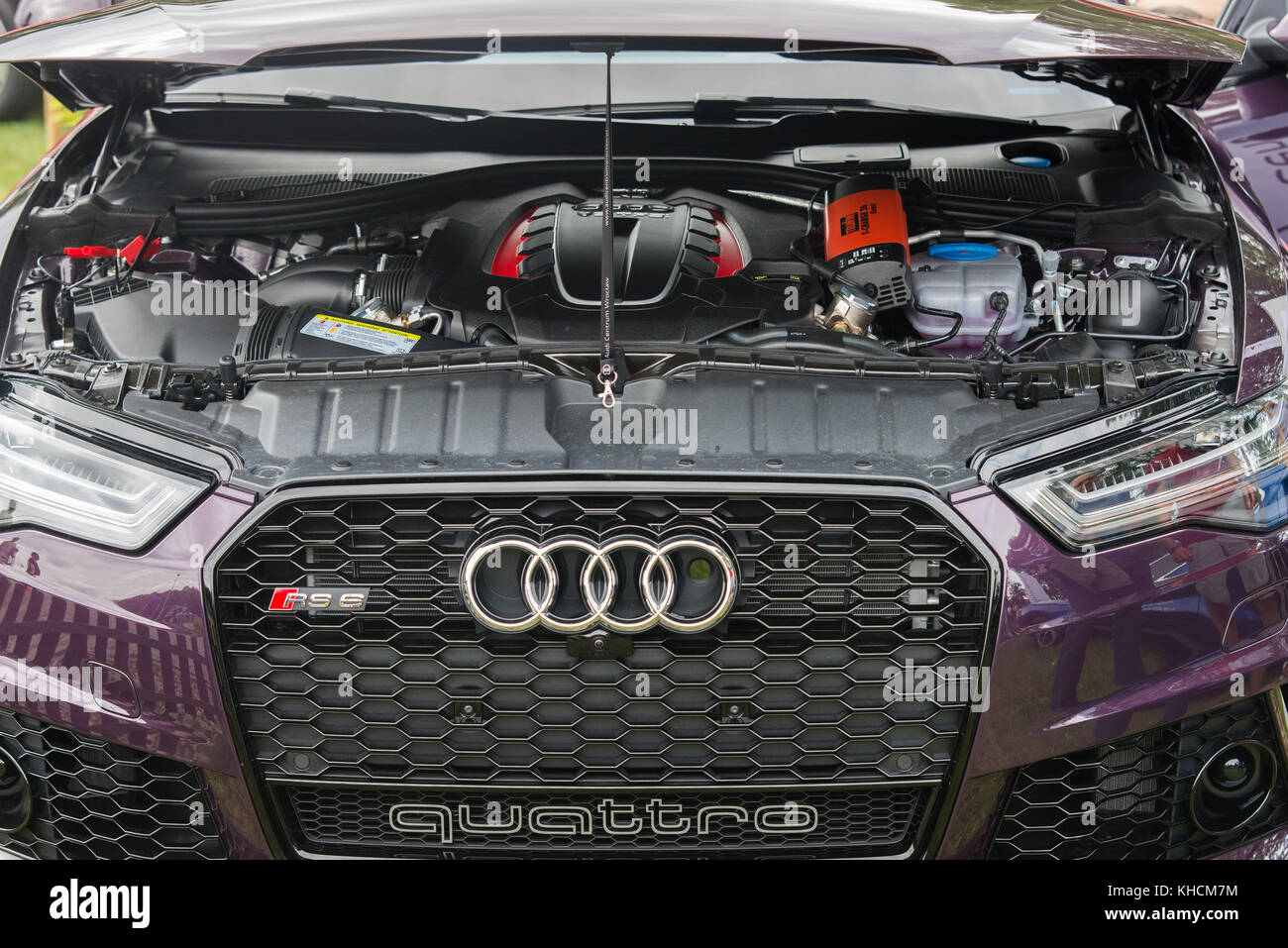 August 19 2017, Wroclaw, Poland - Audi Engine on motoshow classic - Stock Image