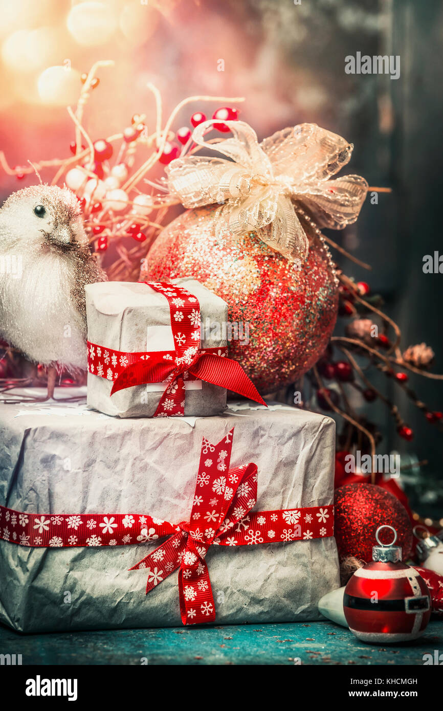 Lovely Christmas Card With Handmade Gifts Bird Holiday Ball Stock
