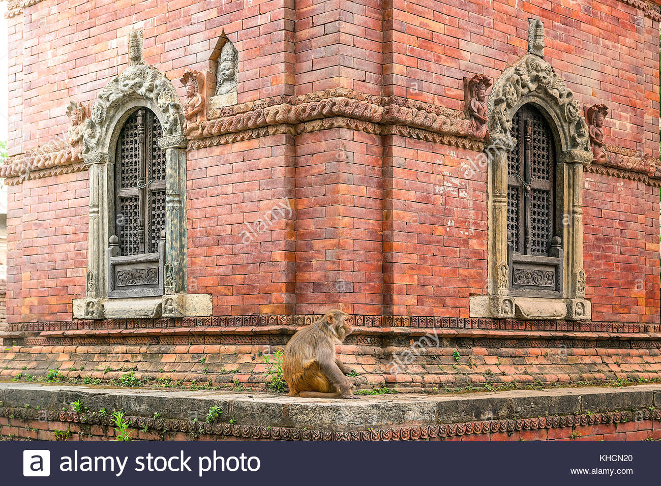 old stupa of briks with monkey in hinduist old temple in nepal. - Stock Image
