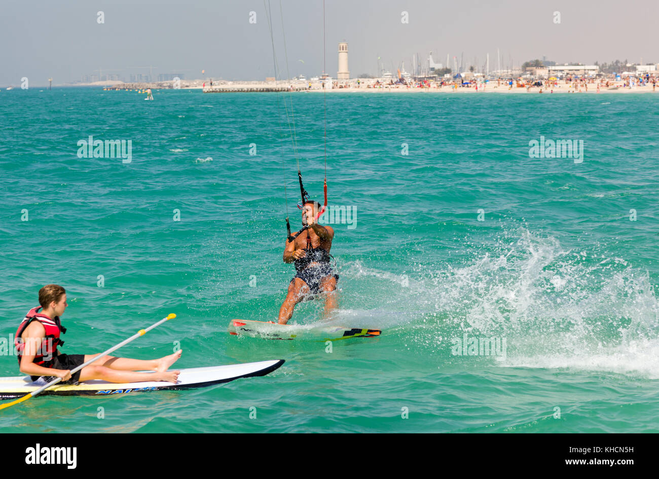 Kite surfer on the Jumeirah Kite Beach - Stock Image