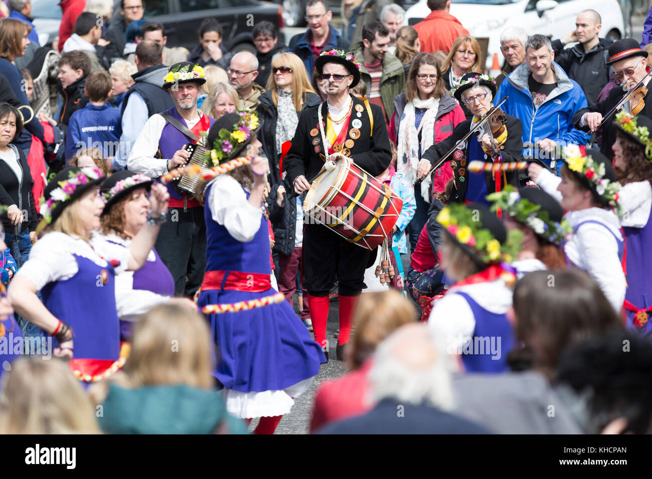 'The Mixed North West Morris Dancing Side based in Slaithwaite, Huddersfield.' Dancers at the Holmfirth - Stock Image