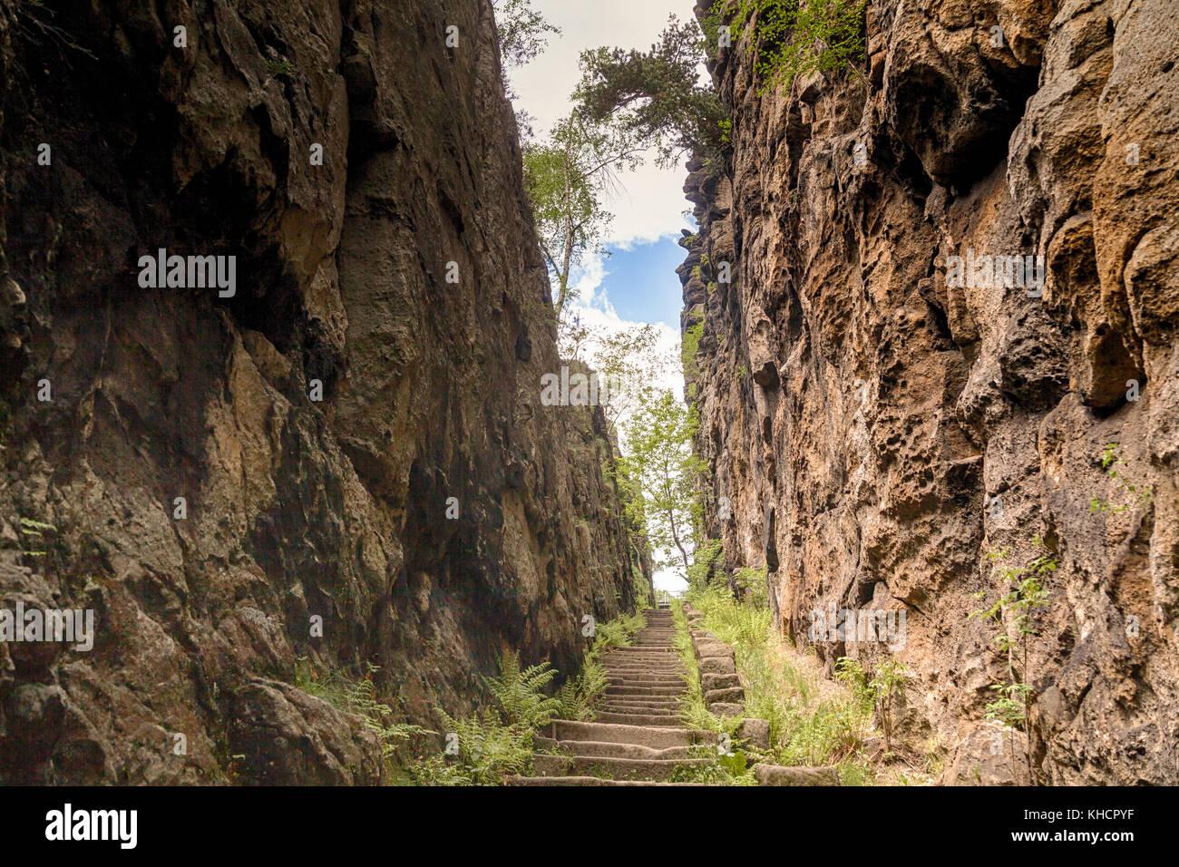 Aufstieg zum Nonnenfelsen Jonsdorf Zittauer Gebirge Stock Photo