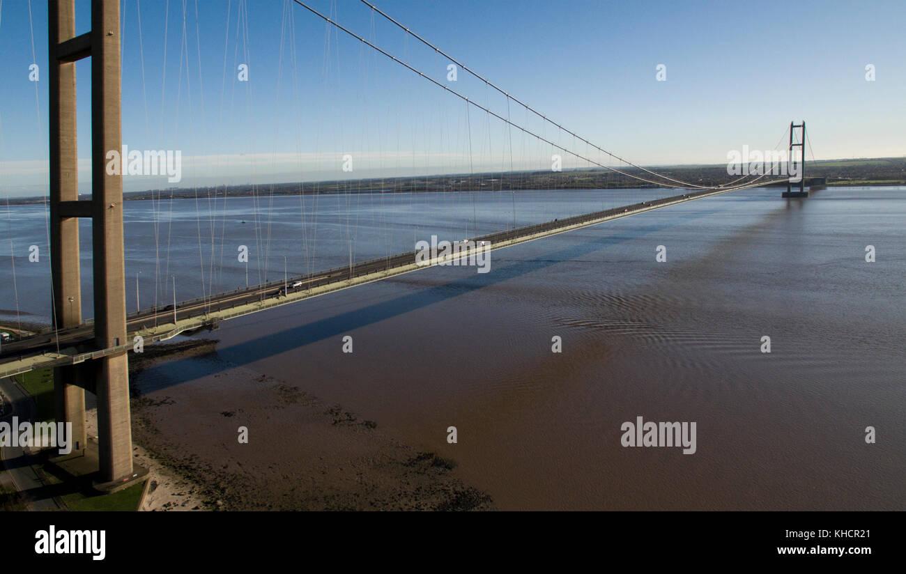Humber bridge, single span suspension bridge over the river humber, Hessle, East Yorkshire - Stock Image