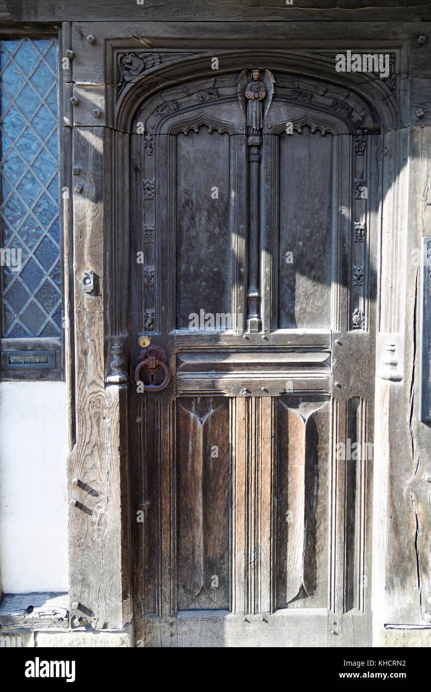 UK, Tewkesbury, very old doorway. - Stock Image