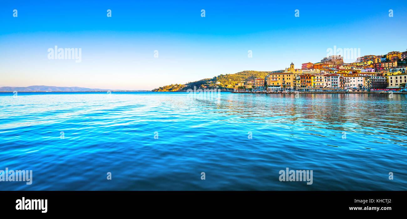 Porto Santo Stefano panoramic view of seafront, italian travel destination. Monte Argentario, Tuscany, Italy. - Stock Image