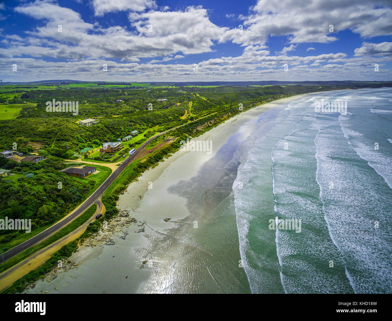 Aerial view of beautiful beach of Cape Bridgewater, Victoria, Australia - Stock Image