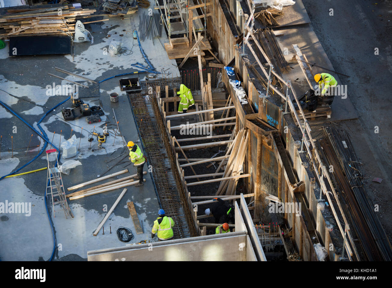 Construction Workplace, Sundbyberg, Sweden. - Stock Image
