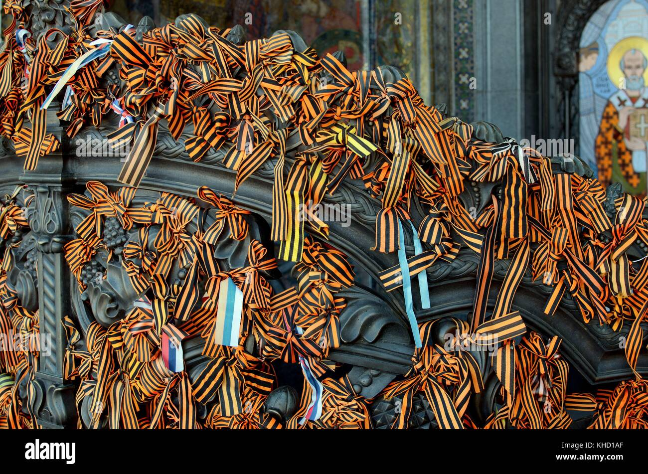 The ribbons on the gates of the Cathedral, put there by parishioners of the Church on Christian holidays - Stock Image