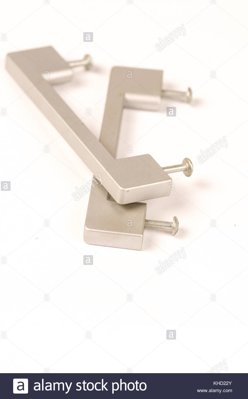 Grey metal handles isolated on the white background. - Stock Image