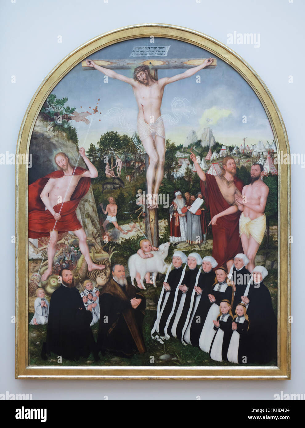 Painting 'The Allegory of Salvation and Sin' (1557) by German Renaissance painter Lucas Cranach the Younger - Stock Image