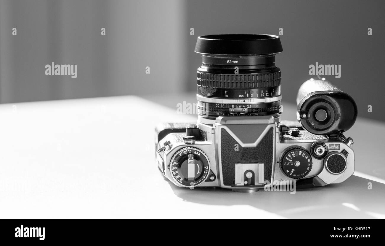 Nikon FE single lens reflex 35mm professional film camera First launched in 1978 and remained in production until - Stock Image