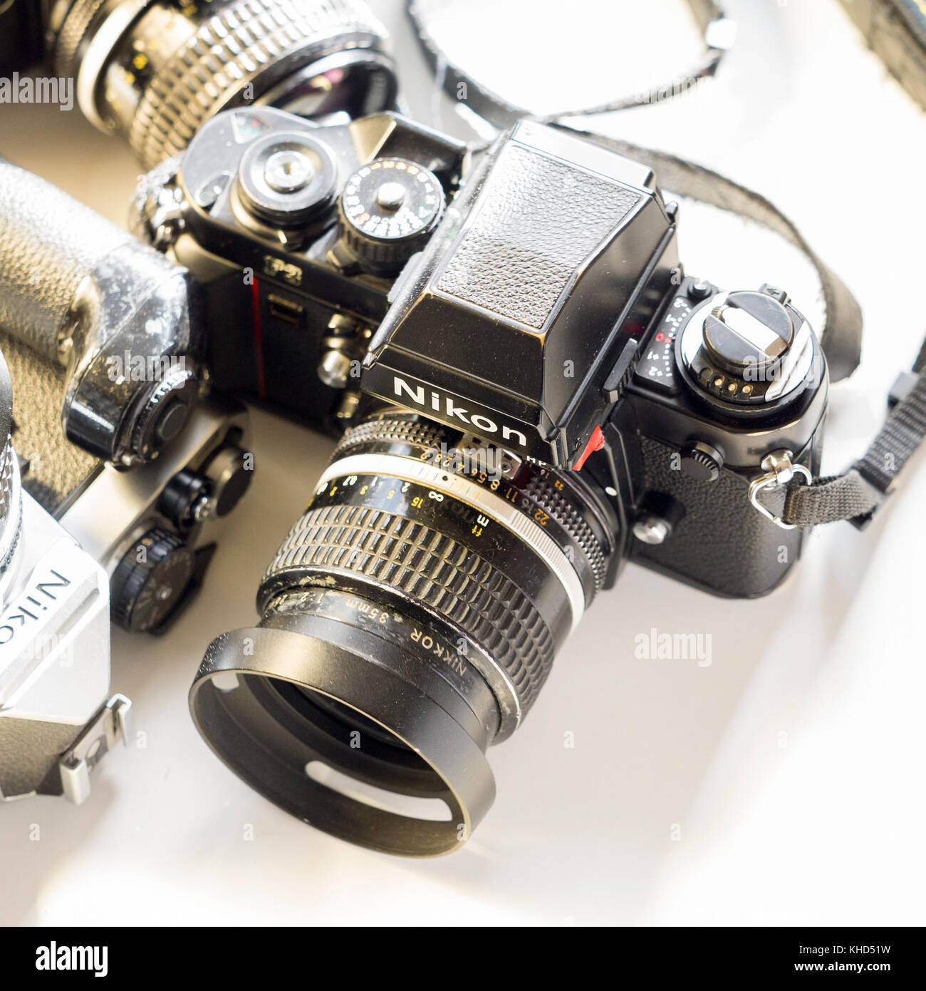 Nikon F3 single lens reflex 35mm professional film camera First launched in 1980 and remained in production until - Stock Image