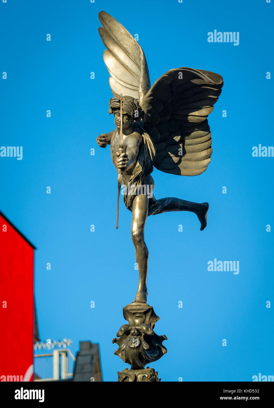 Statue of Anteros at Shaftesbury Memorial Fountain, Piccadilly Circus, London. The Statue was erected in 1892. - Stock Image