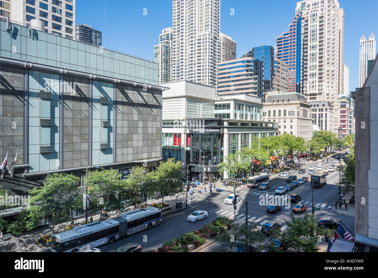 View of Michigan Avenue Magnificent Mile shopping district. - Stock Image