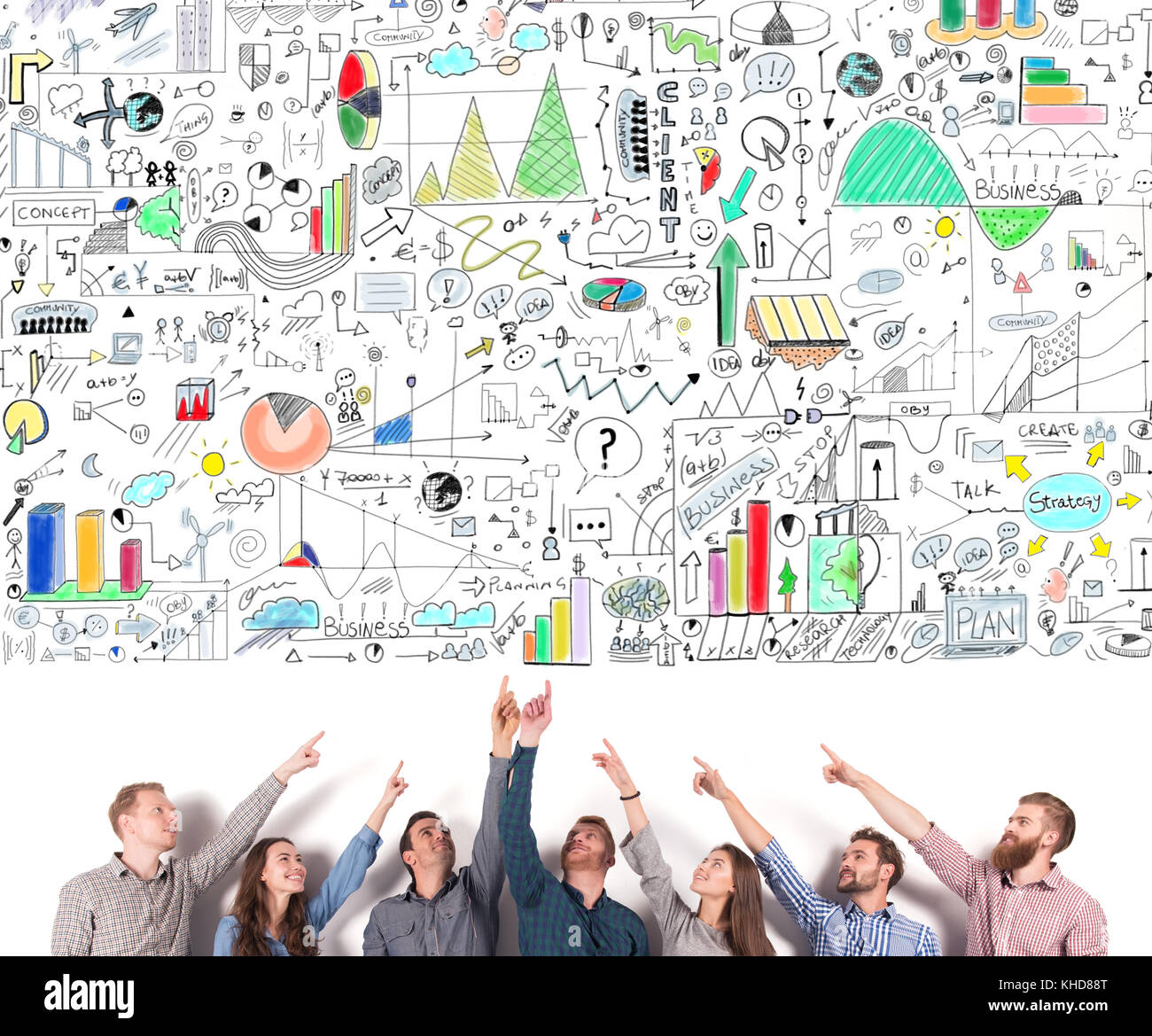 Business team indicate a business project. concept of creative idea and teamwork - Stock Image