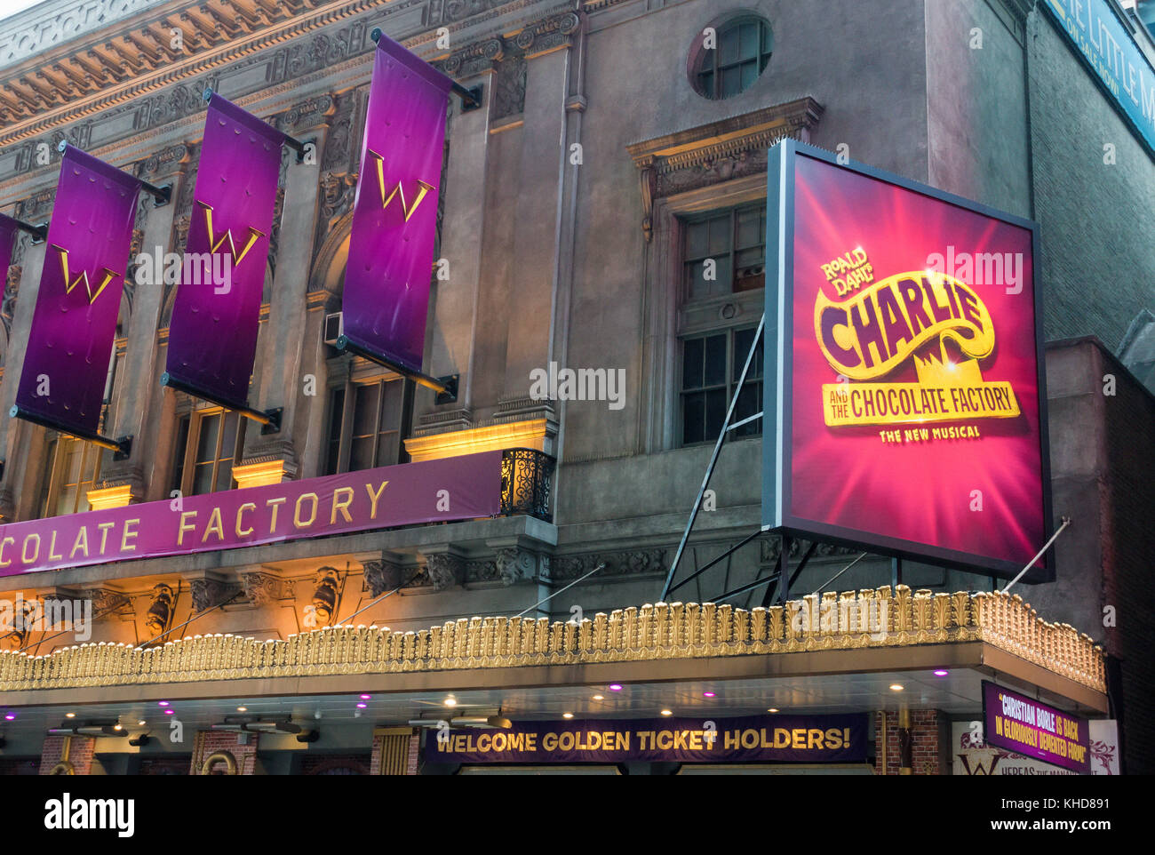 Charlie and the Chocolate Factory, a musical based on the Roald Dahl story at the Lunt-Fontanne Theatre in New York - Stock Image