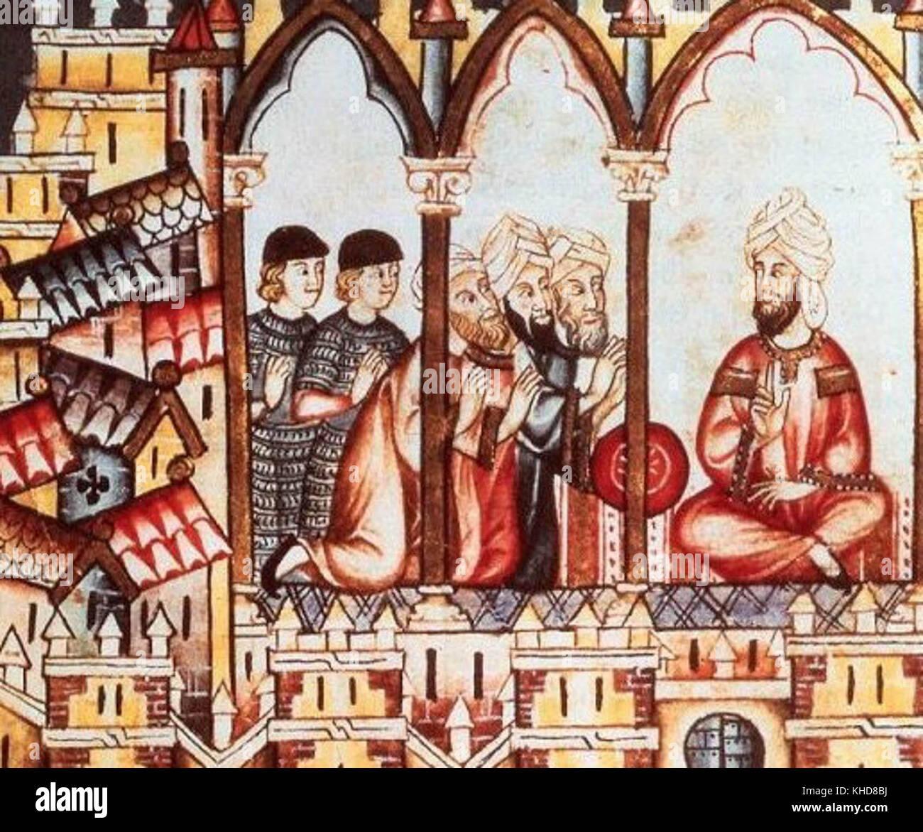 Castillian ambassadors attempting to convince Moorish Almohad king Abu Hafs Umar al-Murtada to join their alliance Stock Photo