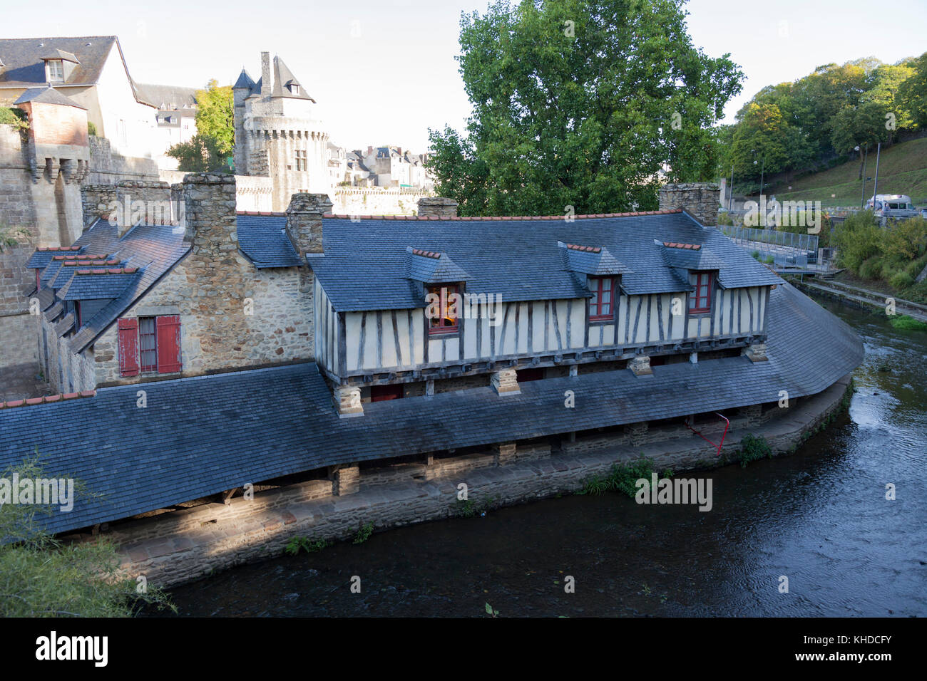 The wash  houses of Vannes (Morbihan - France). Located below ramparts, they mirror in the Marle river.  Les lavoirs - Stock Image