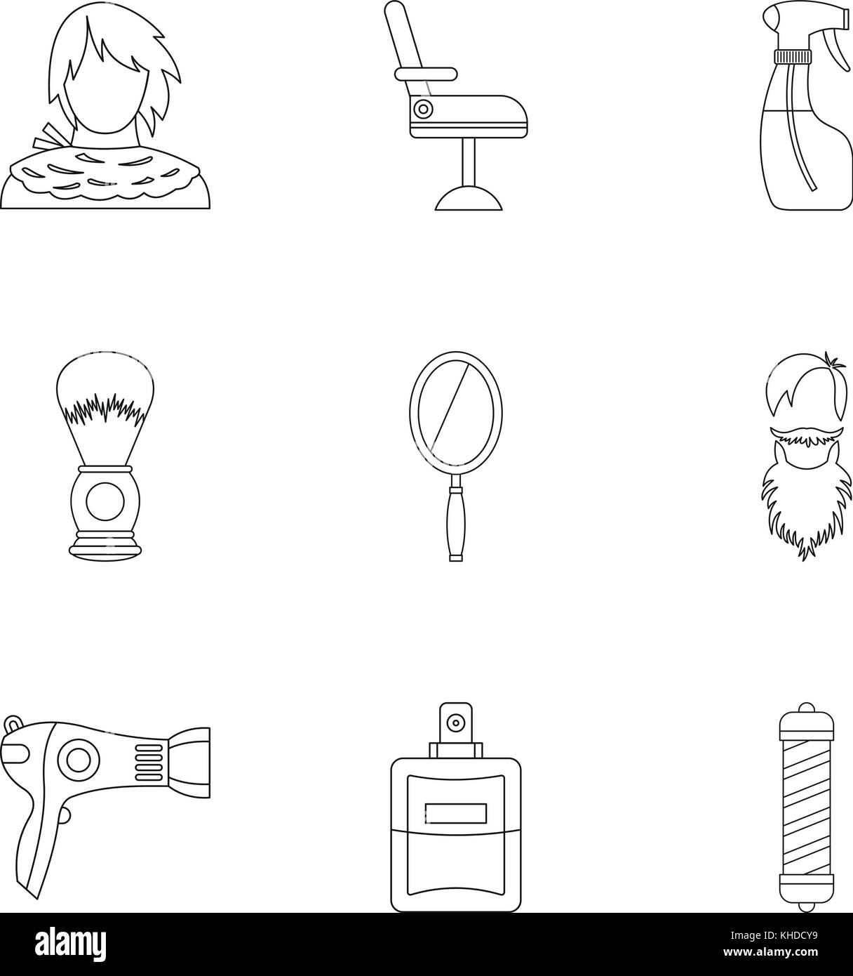 Hair cut icons set, outline style Stock Vector Art ... Hair Cutting Diagram on chemistry diagrams, tailoring diagrams, color diagrams, steam boiler diagrams, hvac systems diagrams, fashion diagrams, makeup diagrams, hair layering diagram, reflexology diagrams, hair diagram different layers, food diagrams, skin diagrams,