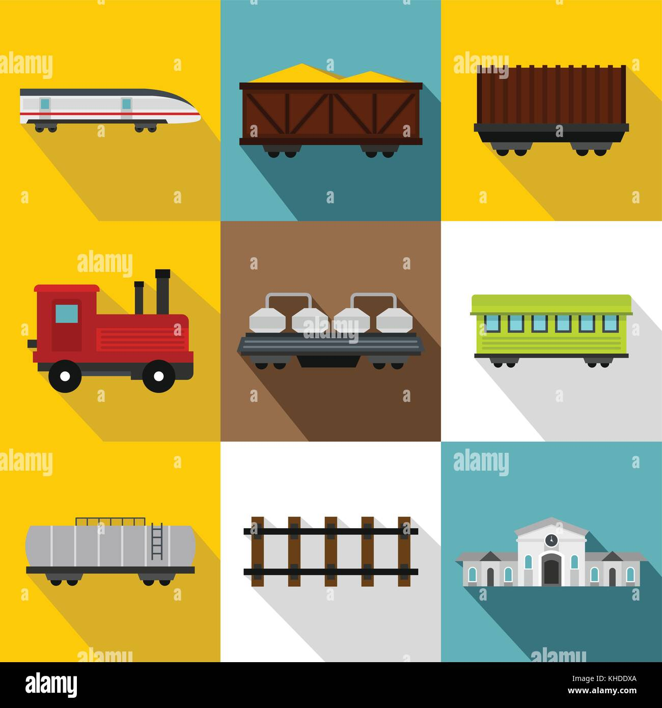 Train icons set, flat style Stock Vector