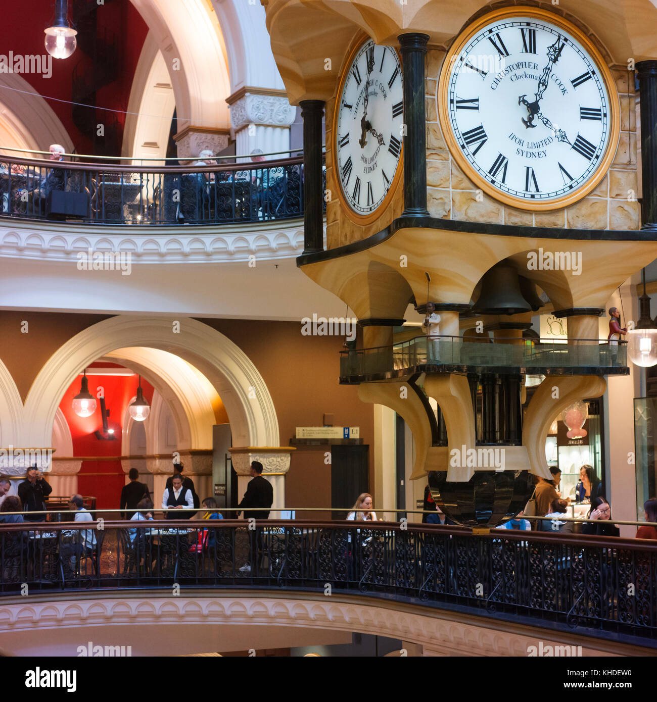 Interior of the Queen Victoria Building (QVB) showing cafes and architectural features. - Stock Image