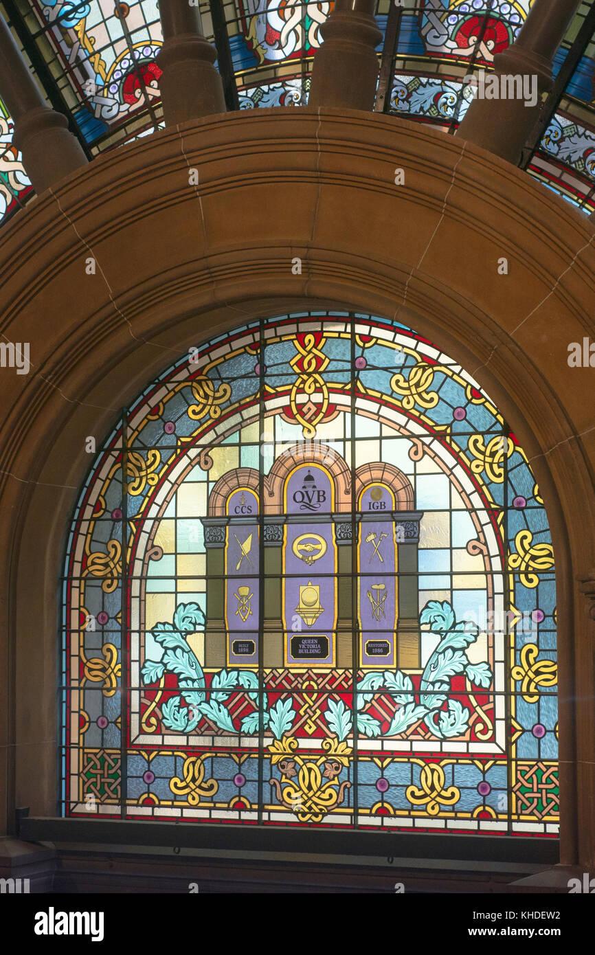 Leadlight window in the Queen Victoria Building (QVB) in Sydney's CBD. - Stock Image