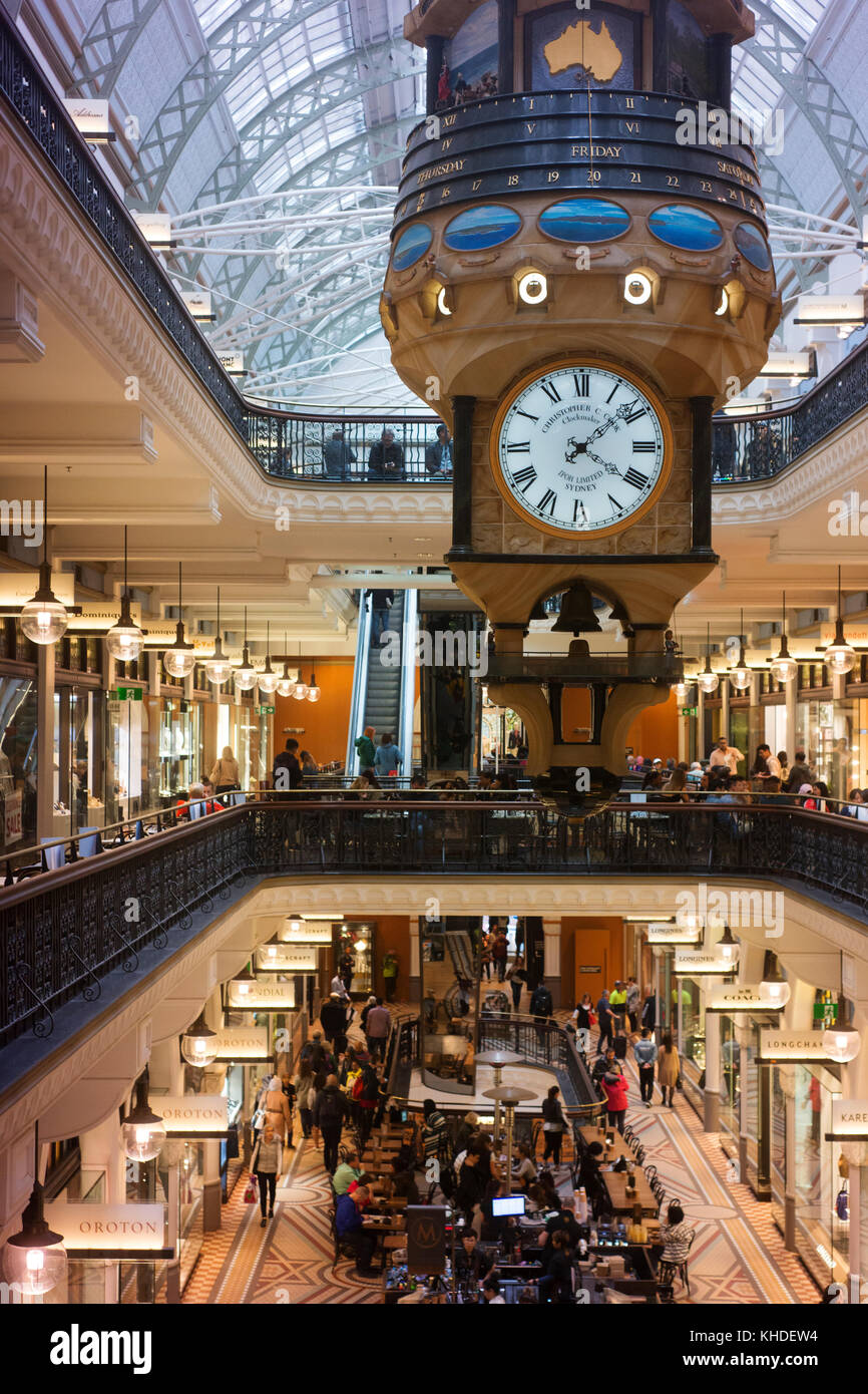 Inside the Queen Victoria Building (QVB) with diners and shops. - Stock Image