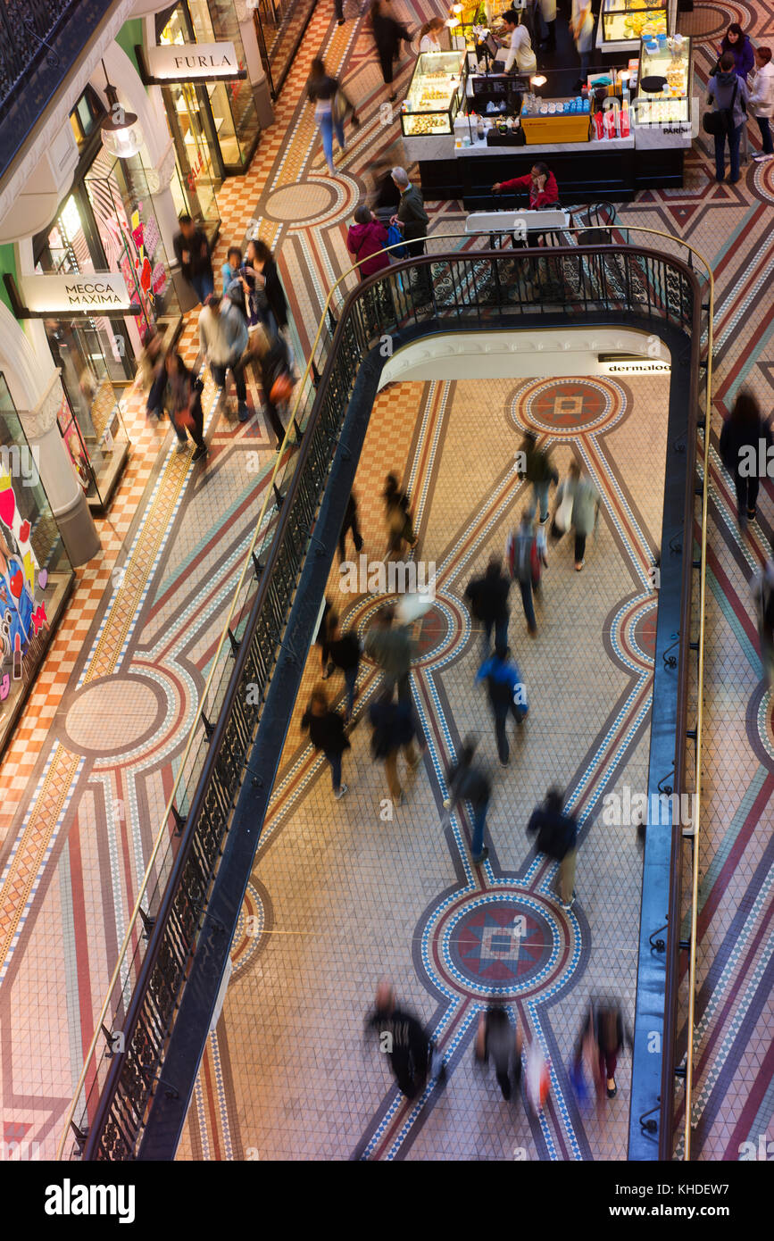 Looking down to the ground floor in the Queen Victoria Building (QVB) in Sydney's CBD. - Stock Image