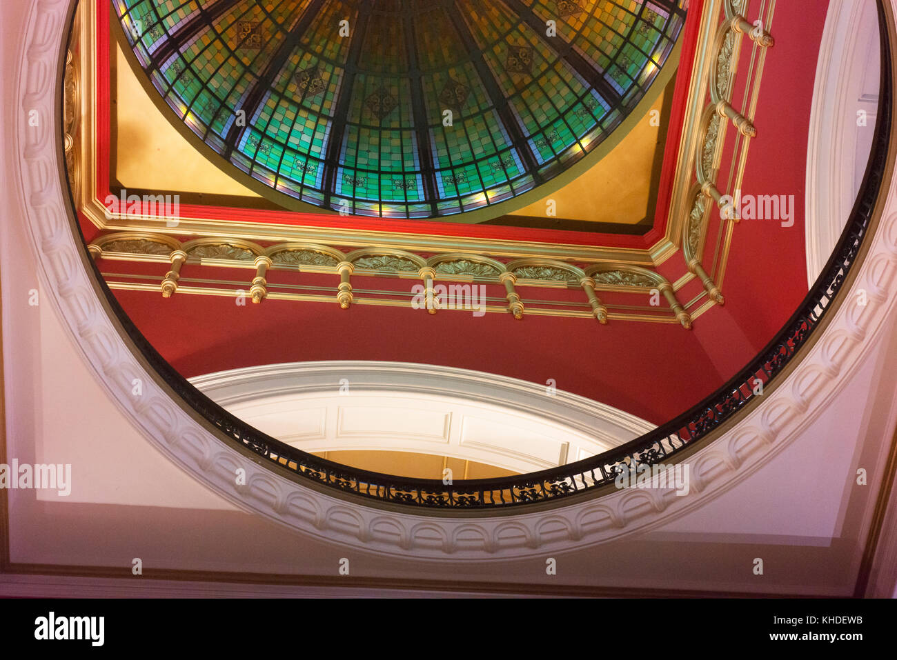 Looking up into the ceiling of the Queen Victoria building in Sydney's CBD. - Stock Image