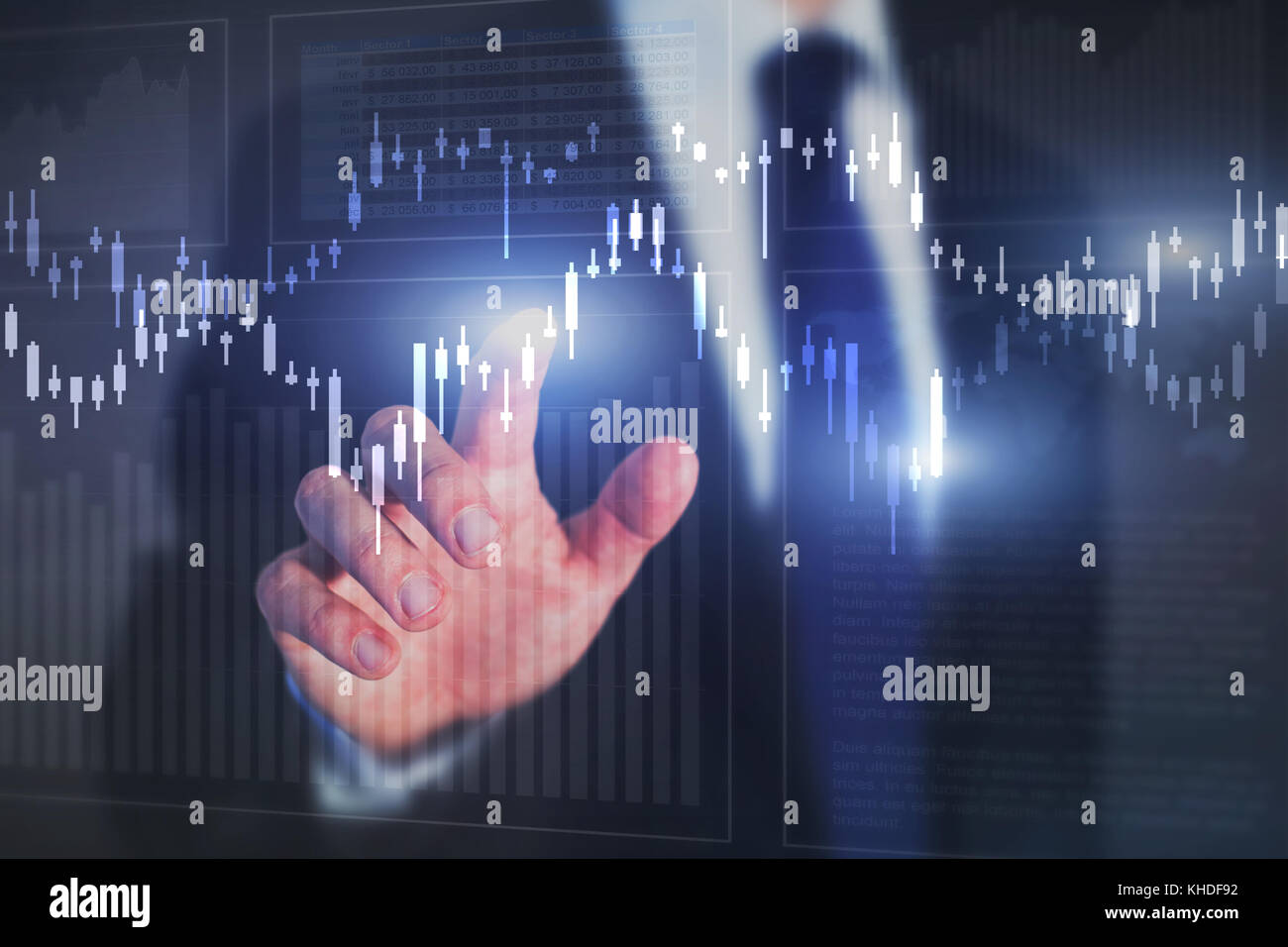 financial graphics and charts background, stock market concept, investor analyzing digital data - Stock Image