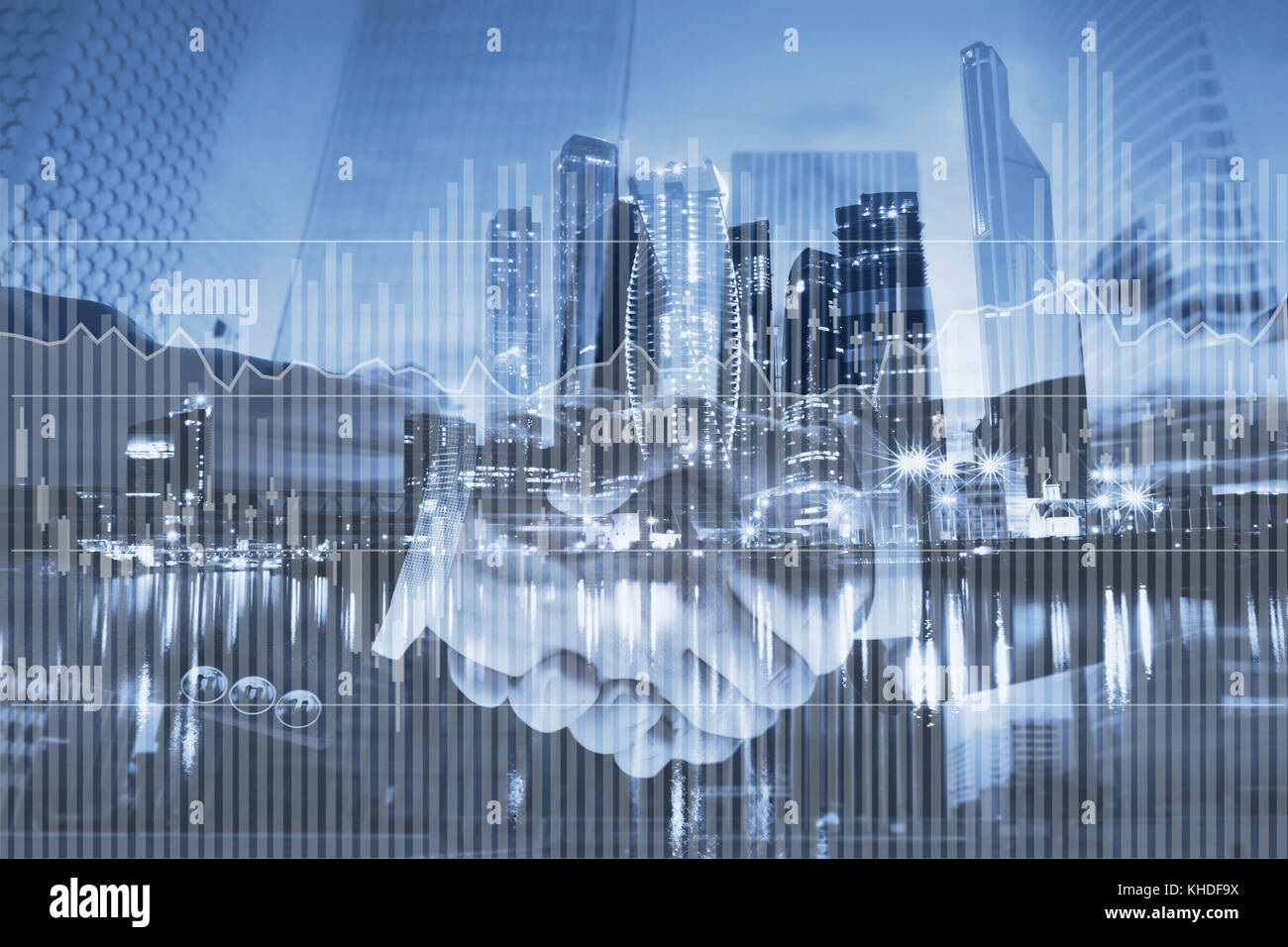 interest rates concept, financial charts and graphs about investment on business double exposure background - Stock Image