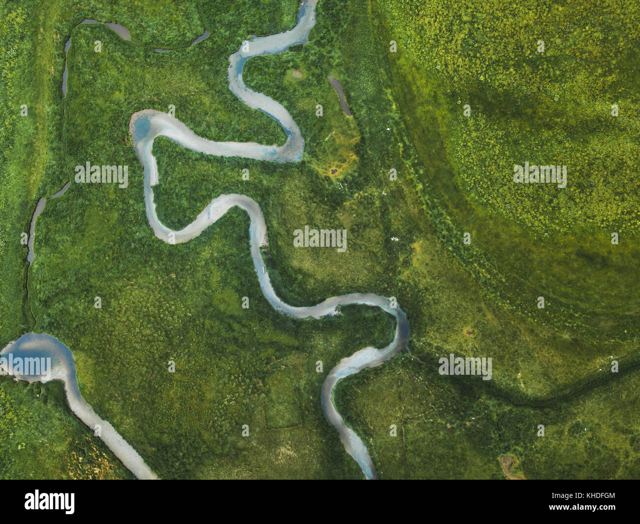 Aerial Landscape Of Winding River In Green Field Top View Beautiful Nature Texture From Drone