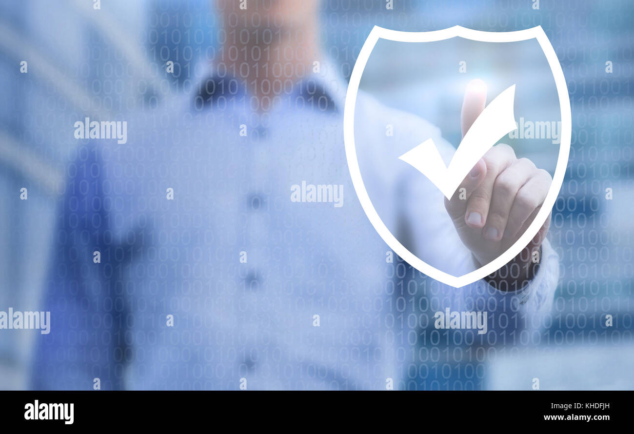 cybersecurity concept, online data protection on internet, virtual web shield on touchscreen - Stock Image