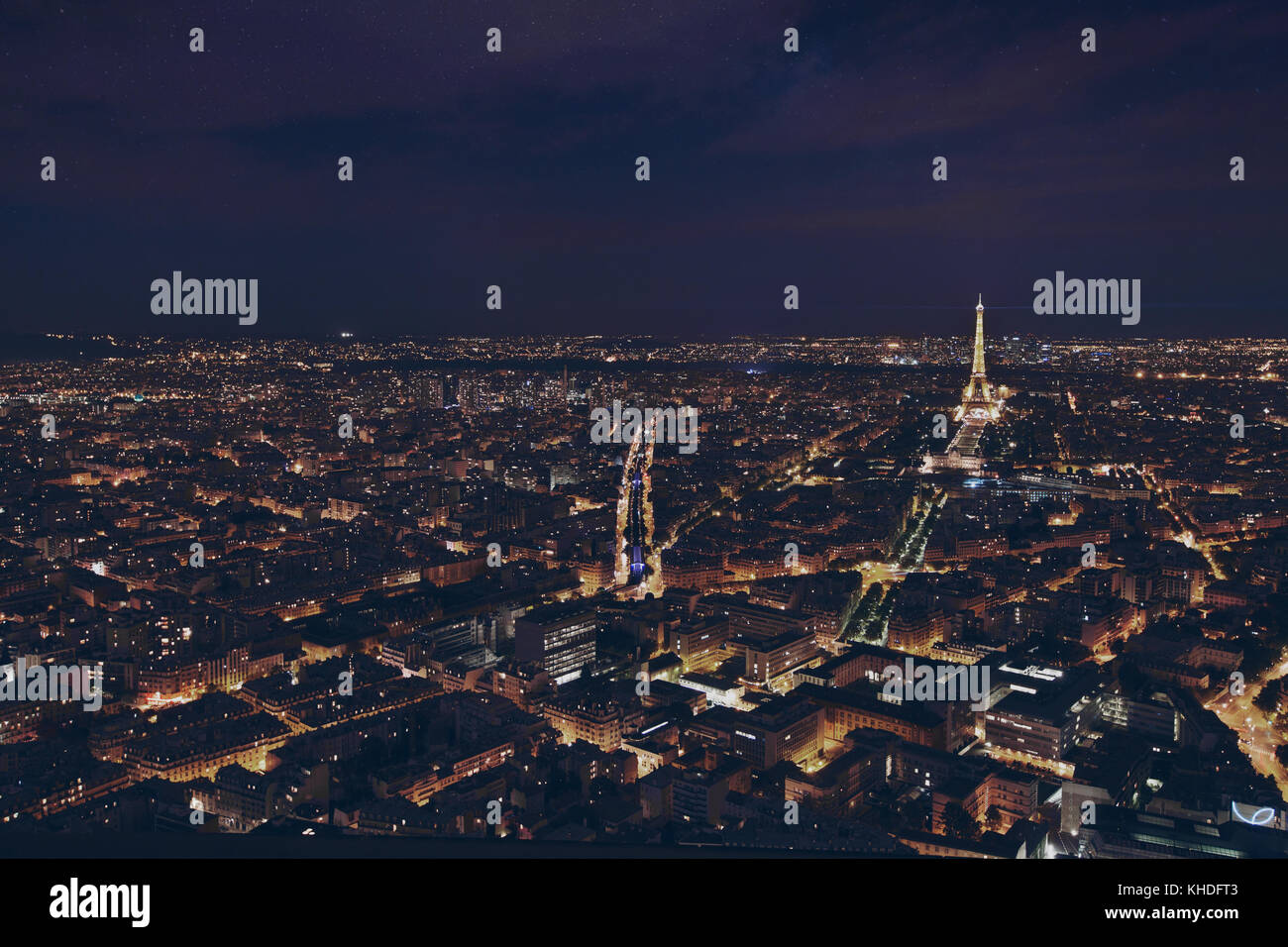 PARIS, FRANCE - AUGUST 29 2015: beautiful night panoramic aerial view of Paris and illuminated Eiffel Tower, city Stock Photo