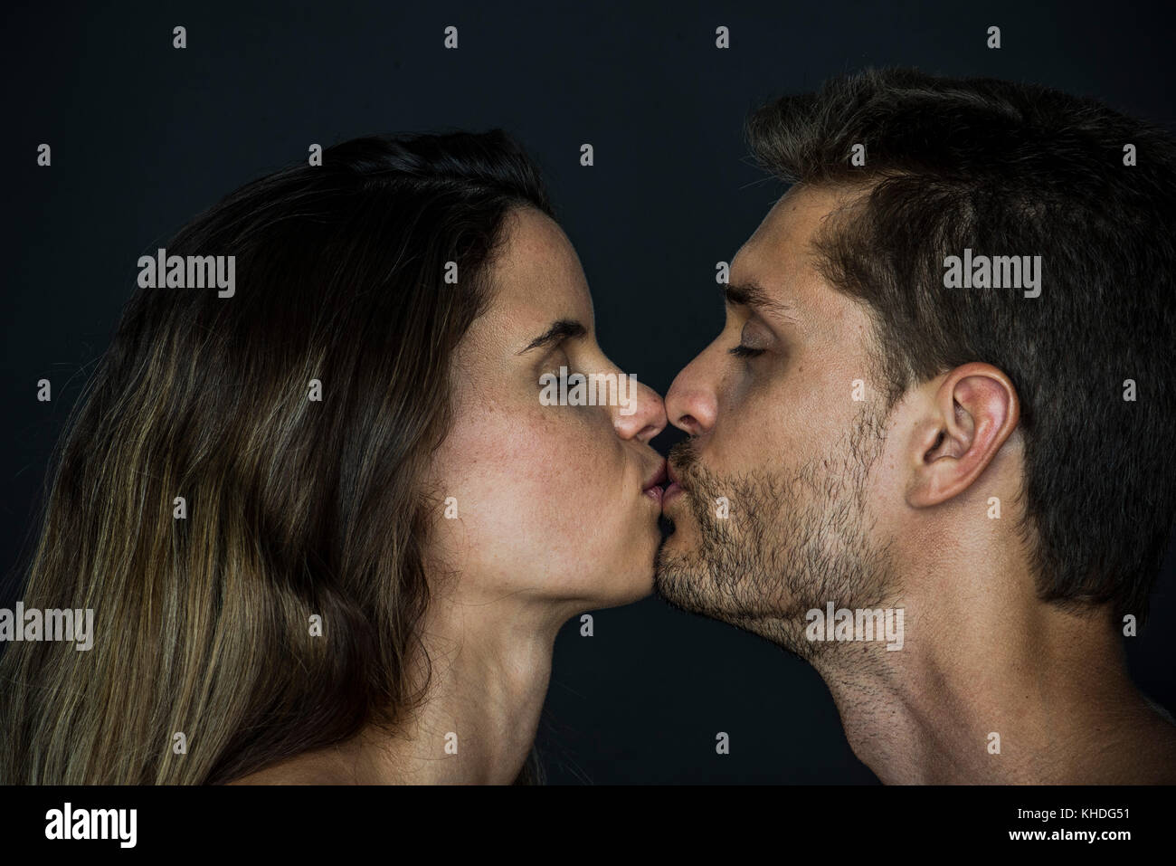 Couple kissing with eyes closed Stock Photo