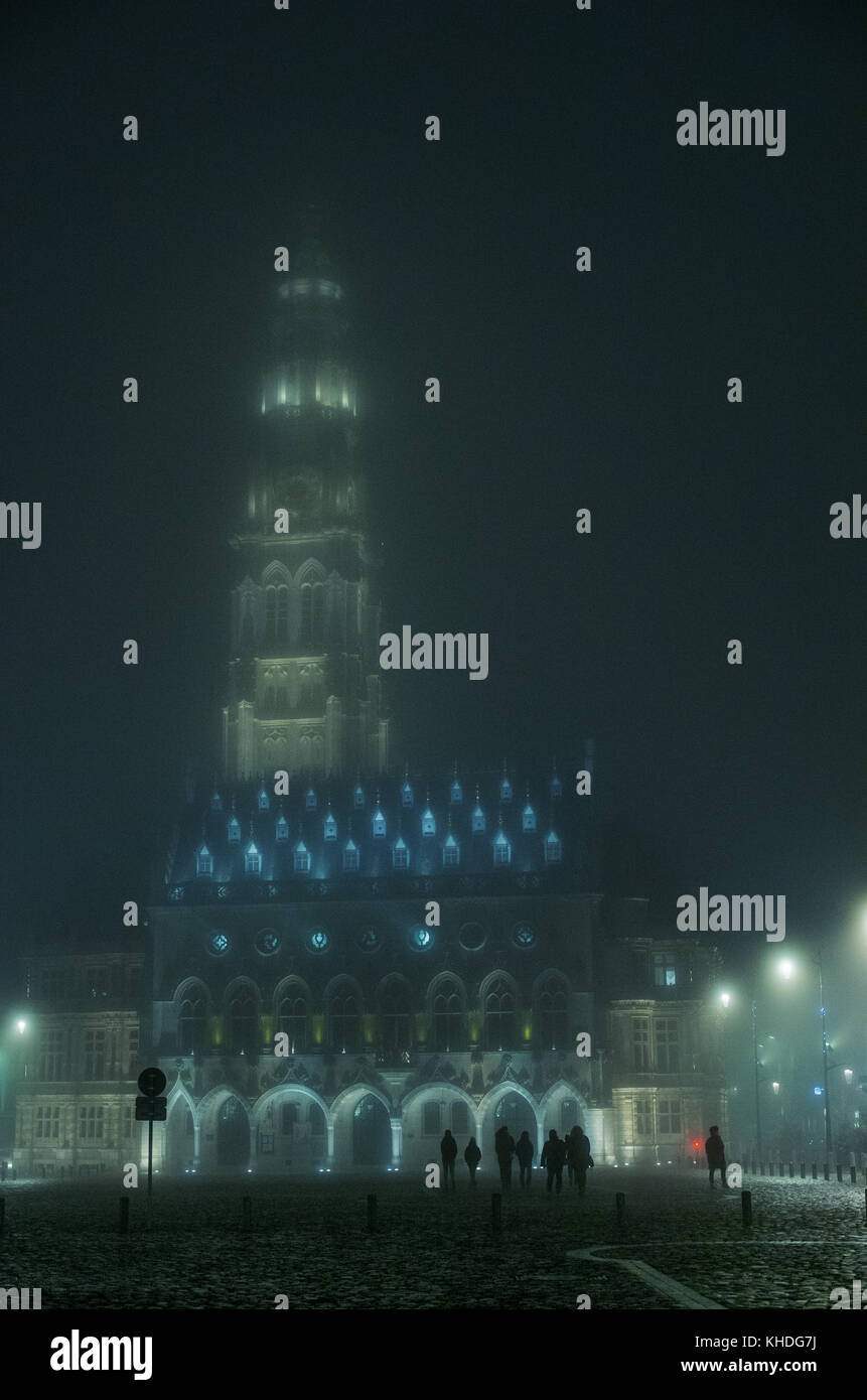 The Arras Belfry and Town Hall illuminated at night, Arras, France Stock Photo