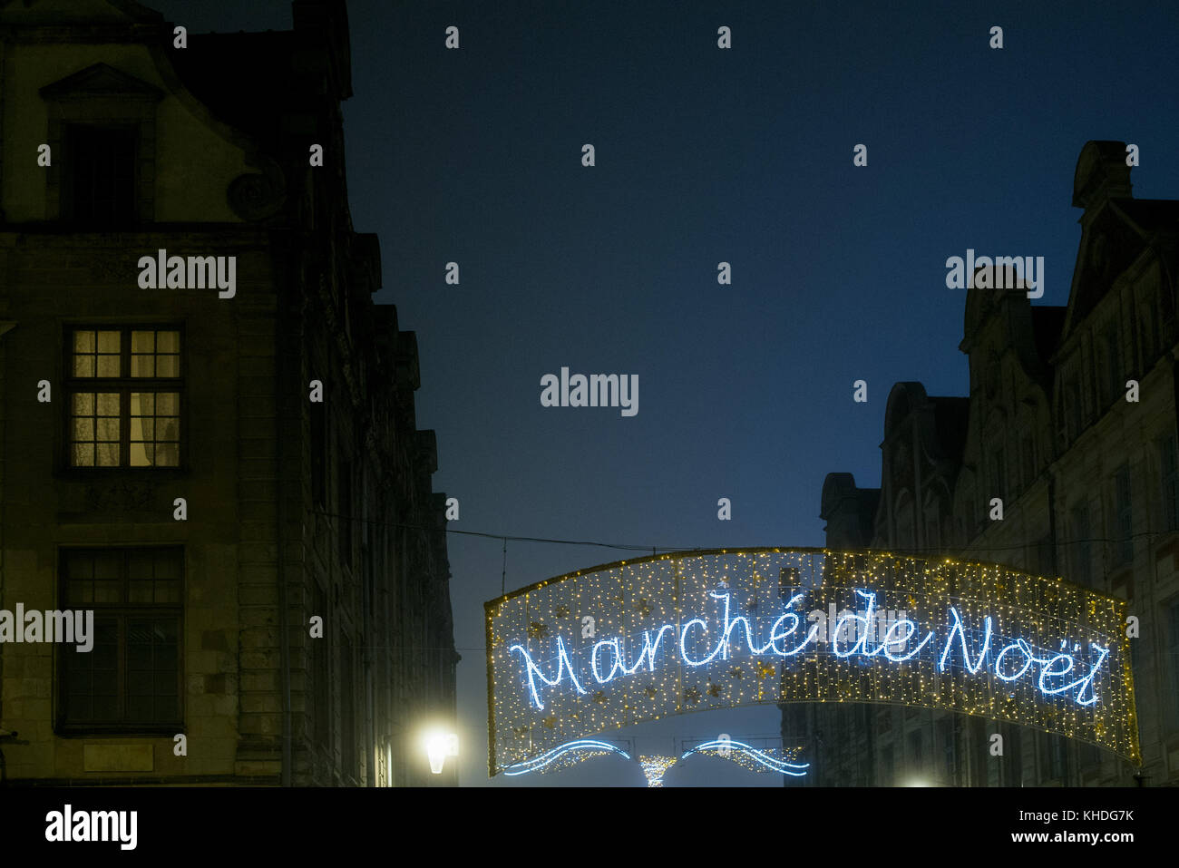 Illuminated sign advertising an outdoor Christmas market in French Stock Photo
