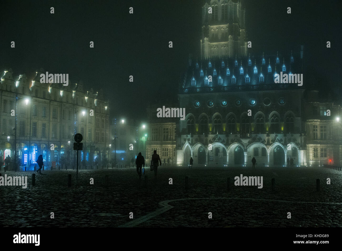 Nighttime view of the town square, town hall and belfry in Arras, France Stock Photo