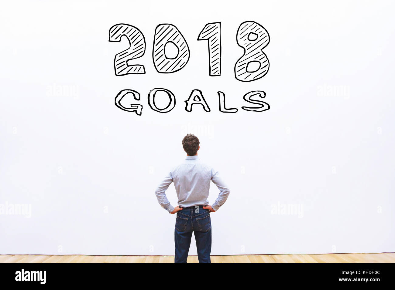 goals 2018 concept, business plan to achieve - Stock Image
