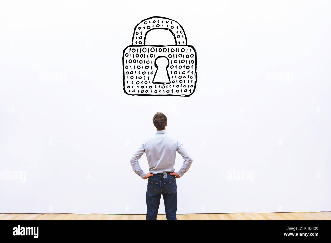 personal information protection concept, cybersecurity of data, digital lock with binary code of password - Stock Image