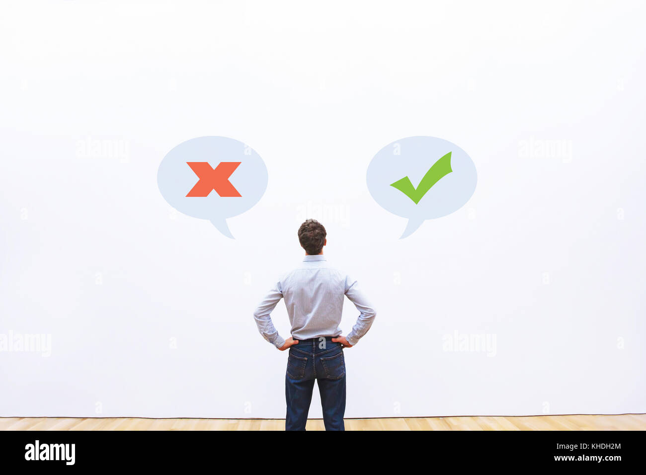allowed or prohibited concept, right or wrong thoughts, positive thinking - Stock Image