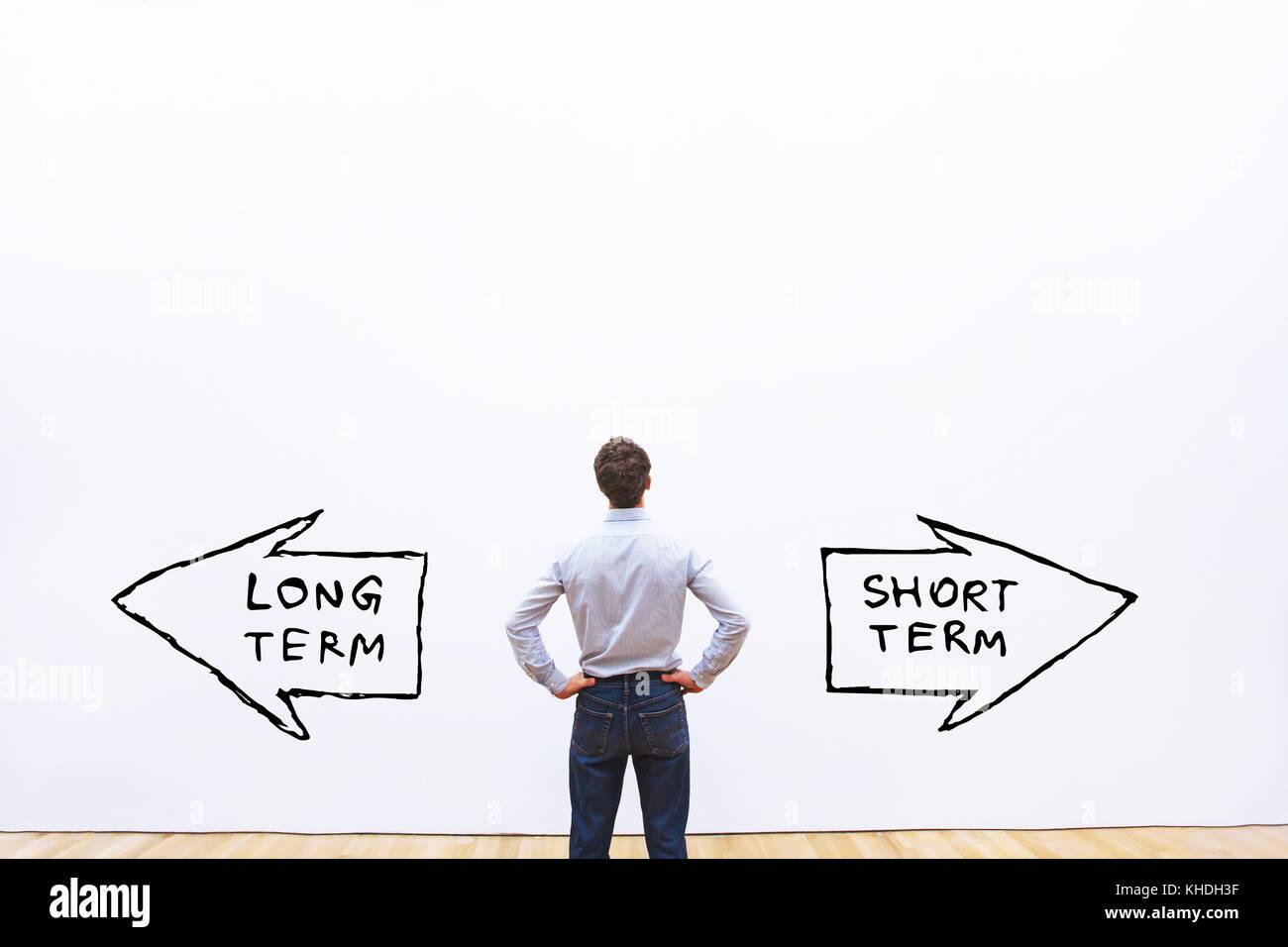 long term vs short term concept - Stock Image