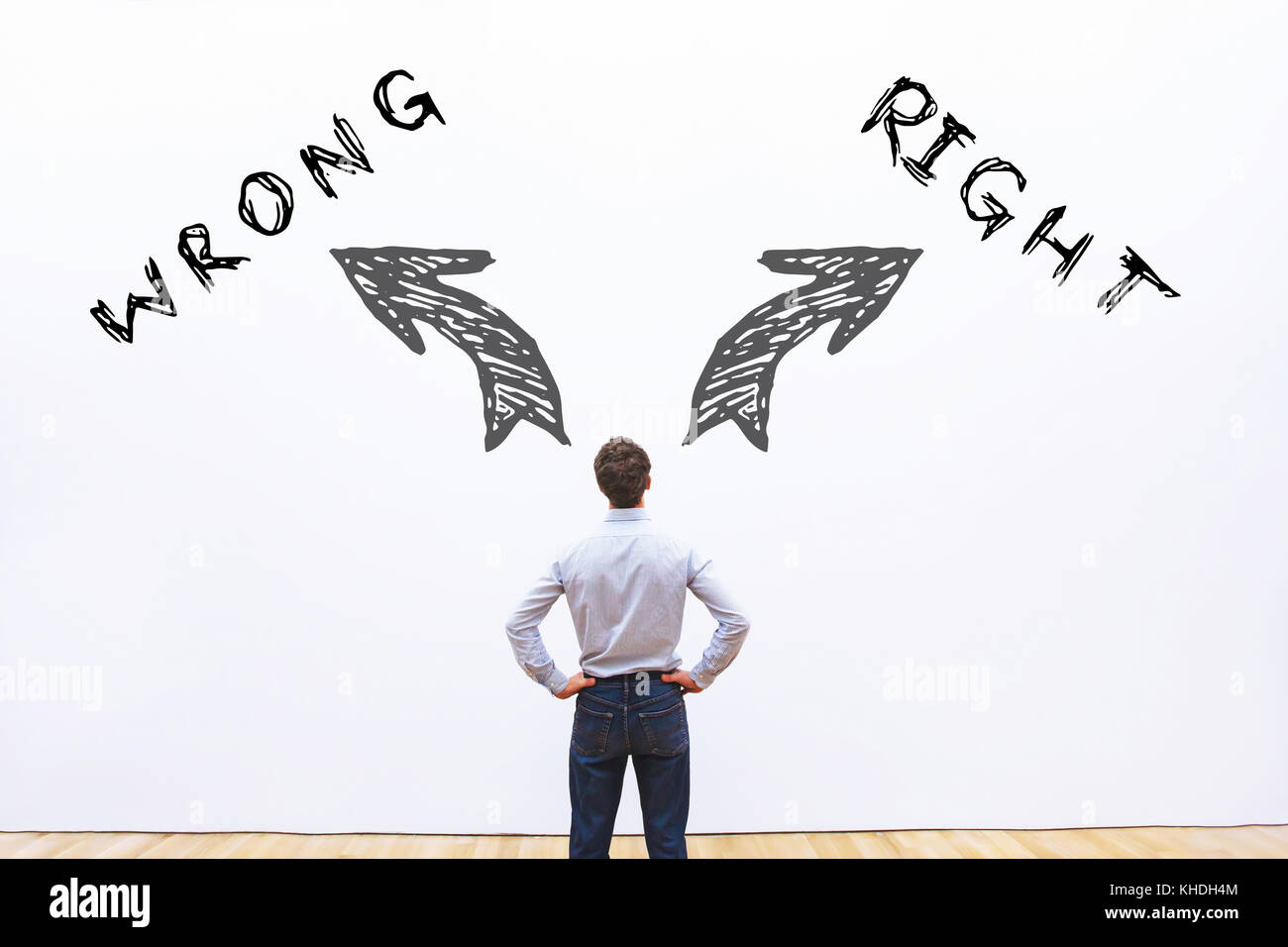 right wrong concept - Stock Image
